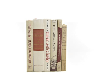 Beige BOoks, Brown Decorative Books, Old Book Decor, Vintage BOok Set, Instant Library, Book Collection, Instant Library, Masculine decor