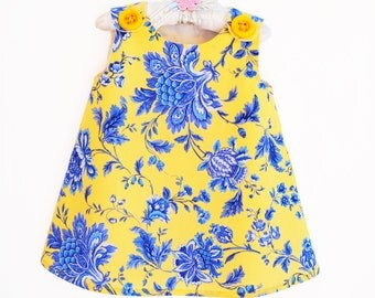 Blue - Children Clothing - Toddler Clothing - Babywearing - Jumper Dress  - Vintage Design - Gift for Her - KK Children Designs - 3M to 12M