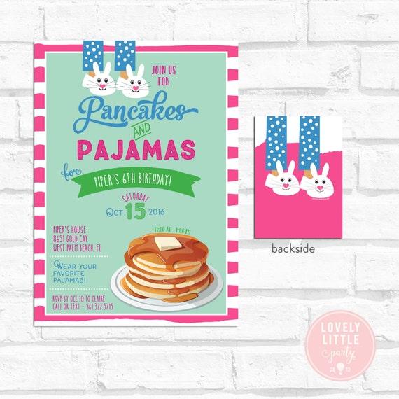 Pancakes & Pajamas Invitation, Pancake Birthday, Pancake Breakfast, Lovely Little Party #2A