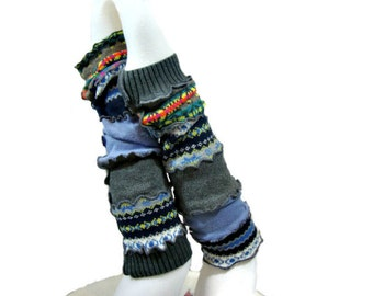 Upcycled Leg Warmers, Blue & Gray Leg Warmers, Upcycled Clothing, Long Leg Warmers, Boho Boot Toppers, Retro Scrunch Leggings, Boot Socks