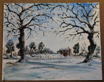 Winter Landscape Painting and original acrylic large unframed winter scene and winter art and winter landscape painting and original art
