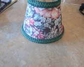 Vintage small lamp shade fabric decorated pretty flower pattern