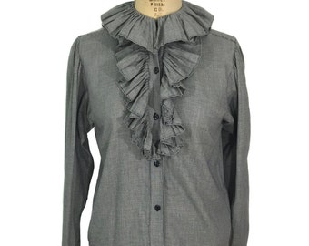 vintage 1970s KENZO sharkskin houndstooth blouse / black & white / ruffled collar / cotton / women's vintage blouse / size small