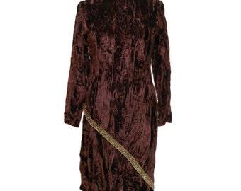 vintage 1960's crushed velvet dress / Mr. Boots / brown chocolate / asymmetrical hemline / women's vintage dress / size medium