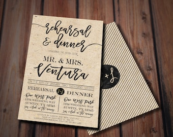 Rustic Rehearsal Dinner Invitation- Rustic Wedding, Chic Cottage Wedding//Rehearsal Dinner Invitation