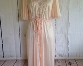 Vintage 60s Robe by Gilead - Sweet and Delicate - Nylon and Lace - Size M/L