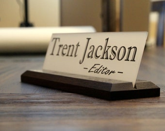 acrylic teacher desk name plate with wood plaque personalized