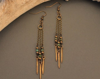 Phoebe brass spike earrings with turquoise and chain