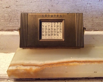 Calendar, Perpetual Calendar, Brass, 1940, Vintage, Office Supplies, Office Props, Props, All Months, Industrial, Retro, Mad Men