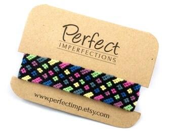 Friendship Bracelet // Hand Woven Bracelet Gift for Best Friends // Pastel Multi Colours in a Geometric Aztec Tribal Native American Design