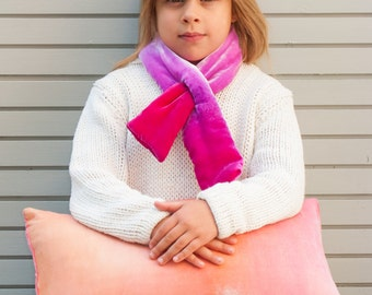 Kids Pink velvet padded scarf hand-painted UK, Ready to ship