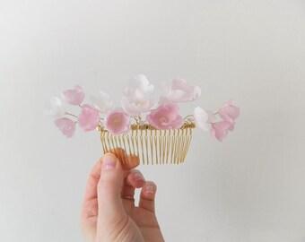 Blush Blossom Comb - Handmade silk flower bridal adornment - style 004