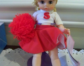 Cheerleader in red, Madame Alexander 8 inch doll