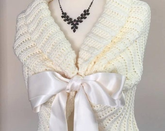 Ivory Shawl, Spring Wedding Shawl, Bridal Cape, Bridal Shawl, Bridal Bolero, Rustic Wedding Ivory Wrap, Bridal Cover Up, Crochet Shawl
