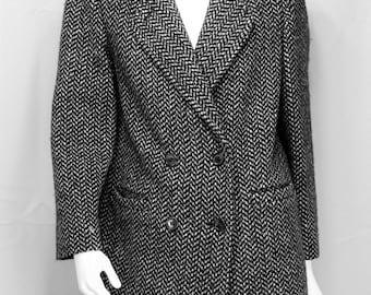 Vintage tweed jacket Womens wool blazer Double breasted wool jacket coat Flecked gray jacket 90s grunge herringbone tweed coat Pea coat S 10