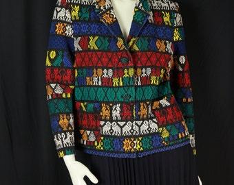 Boho ethnic jacket Gypsy colorful cardigan Bohemian clothing Hand woven Festival hippie jacket Pixie cotton blazer Multi color tribal coat