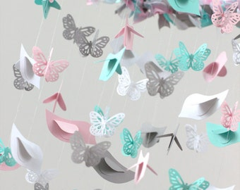 Butterflies & Birds Nursery Mobile, Baby Shower Gift- Pink Aqua Gray White Birds Butterflies Nursery Mobile for Baby Girl Nursery Room Decor