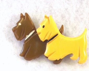 Bakelite Scotty Dog Pin - Double Scotty Dog Brooch - Vintage Collectible Jewelry - Bakelite Jewelry