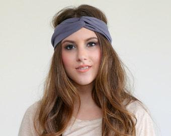 Charcoal Gray Knit turban, Soft Jersey Knit head band