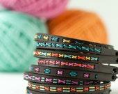DIY Embroidery Kit, Super Skinny Leather Cuff Bracelet, Beginner Embroidery Kit, Cross Stitch Jewelry. Easy Cross Stitch, Hand Embroidery