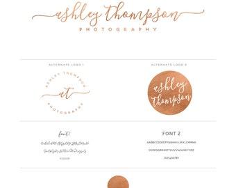 Rose Gold Foil Initials signature Logo design and Logo Stamp - Calligraphy Logo - Custom PreDesigned for photography Logo or boutique logo