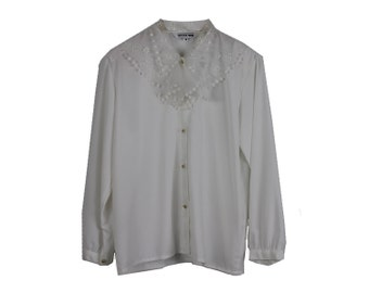 Flounce Blouse - LACE BIG COLLAR Victorian Lace Collar Top White Silky Blouse Long Sleeve Shirt Stiff Collar Button Up Top Trending Large L