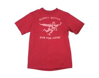 Election T-Shirt - Judge Laywer Election Politics Cartoon TShirt Red Shirt Maroon T Shirt VINTAGE TOP Barry Meyes Run Judge BeefyT Graphic