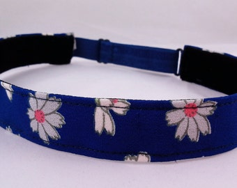 Adjustable non-slip Headband hairband with vintage kimono silk - Royal blue daisy floral pattern