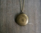 Locket Necklace // Simple Aged Brass Round Locket on an Oxidized Chain • choose your chain length • gift for her