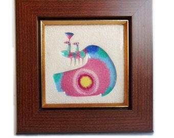 Vintage Ceramic Peacock. Retro Wall Art. Japanese. Polychrome Ceramic Tile Mounted in Wood Frame. Modern Colors. Beautiful MCM art. Japanese