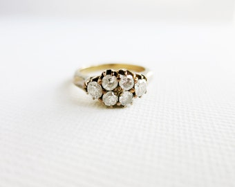 Antique 8K Gold Wedding Promise Ring with 6 Brilliant Cut Diamonds from the Philippines (US Ring Size 5)