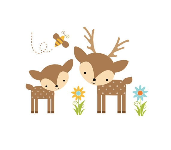 Woodland Deer Decal Forest Animal Baby Nursery Wall Mural