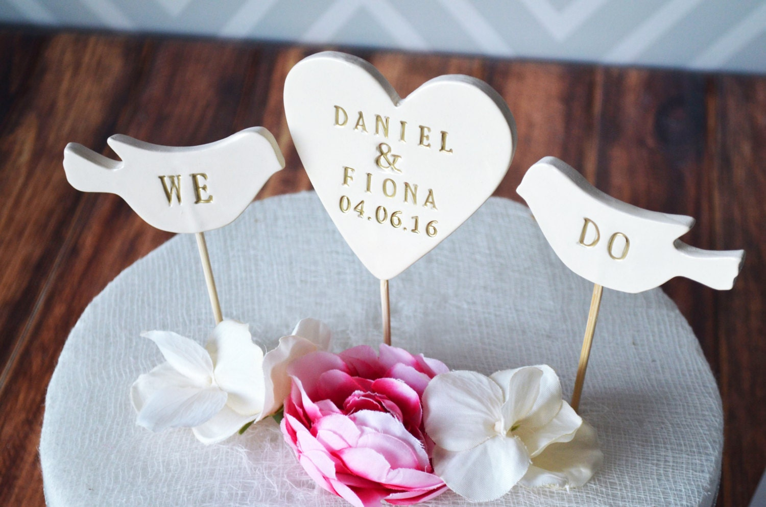 PERSONALIZED Heart Wedding Cake Topper with Names and Date and