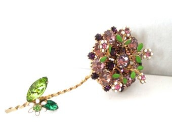 Weiss Lavender and Amethyst Rhinestone and Enamel Flower Brooch Vintage Designer Signed Jewelry 1950s Rhinestone Jewelry Enamel Jewelry