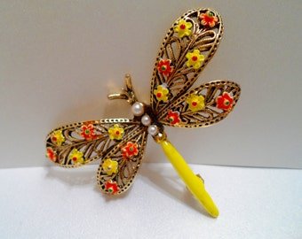 Vintage Enamel Dragonfly Brooch Signed Art Book Piece Vintage Enamel Jewelry Yellow and Orange Enamel and Gold Tone Brooch