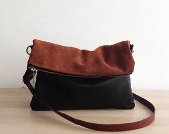 Leather Crossbody Bag, Foldover Bag, Shoulder bag, Slouchy Hobo, Leather Bag, Clutch bag, Clutch purse, Slouchy style