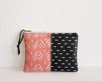 Geometry clutch purse, Pouch, Blush pink and black, Aztec print, Peach color, Small pouch, Vegan Leather, Cosmetic bag, Gift