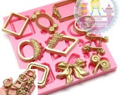 Decorative Embellishment Frames Bows 474L Fondant Gumpaste Polymer Clay fimo Cookie topping Chocolate Melts Flexible Mold BEST QUALITY