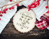 Our First Christmas Ornament, Our First Christmas as Mr and Mrs, Rustic First Christmas Ornament, Wood first Christmas Ornament, mr and mrs