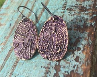 Purple paisley earrings