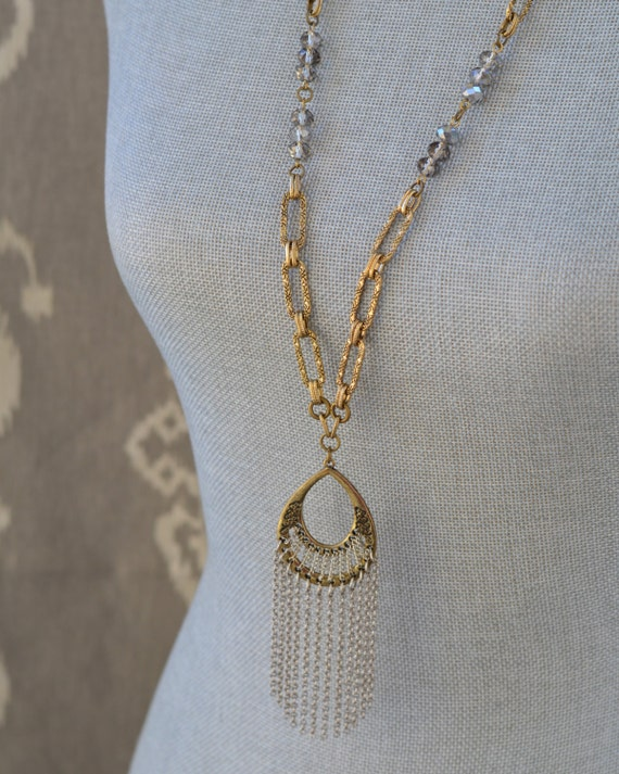 The Premiere Necklace - Long Gold and Silver Tassel Necklace - Long Crystal Tassel Necklace - Long Statement Silver and Gold Tassle