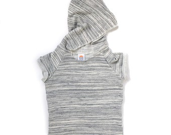 Gray Marl Beach Hoodie. Short sleeved hoodie in a soft french terry cotton jersey.
