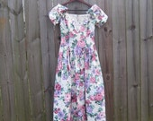 Vintage Jessica McClintock Bridal 80s Floral Pastel Spring Romantic Party Fit and Flare Dress small extra small