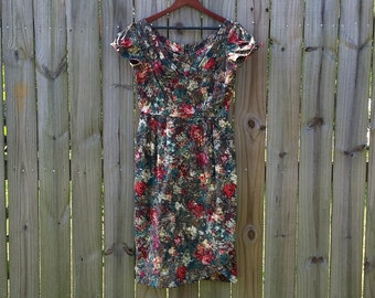 L Large Vtg Vintage 50s Cotton Brown Green Blue Red Watercolor Print Indie  Short Sleeve Wiggle Shelf Bust  Day Dress Frock