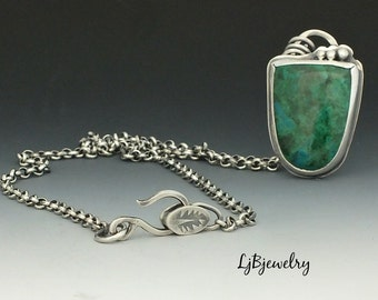 Silver Pendant, Chrysocolla Pendant, Necklace, Sterling Silver, Metalsmith Jewelry, Handmade