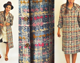 1960s Printed Ink Blot Duster Dress