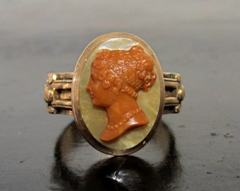 Antique Ring, Victorian Hardstone Cameo Ring 14k c. 1876, Vintage Ring, Victorian Ring, Cameo Ring, Mourning Ring