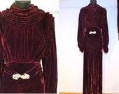 Burgundy Silk Velvet 1930's High Glamour Velvet Ruched Channel Neckline, with Rhinestone Buckle Belt and Sash