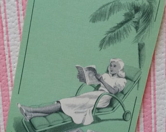 Vintage 1950s Summer Poolside Lady Green Playing Cards