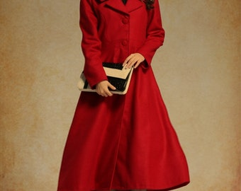 Red Coat, Long Wool Coat In Red, Maxi Coat, Long Cashmere Coat Blazer, Winter Coat Outfit, Black Coat, Long Sleeve Coat, Flared Coat